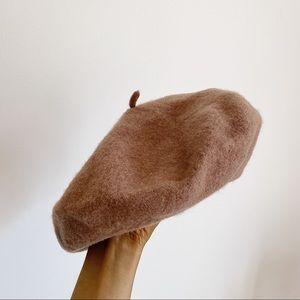 Camel Beret Minimalist Soft Cotton Hat Tan Beige Brown